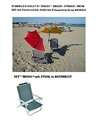 """Kit de viaje STABIELO - Holly - """"Rimini"""" - contenido - ALU - - tumbona antracita 2.8 kg ligero + correa + Holly ' SUN Paraguas Amarillo + compartimentos 360° girando el soporte de articulación universal de + 2 topes de protecci&oacute"""