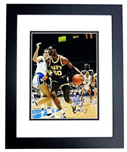 David Robinson Autographed Hand Signed NAVY 11x14 Photo - BLACK CUSTOM FRAME - San...
