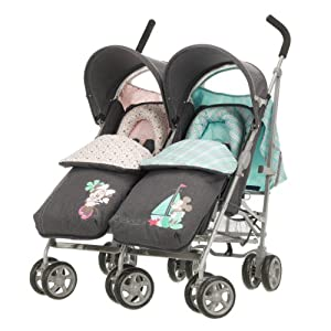 Obaby Apollo V2 Twin Stroller with Footmuffs - Retro Minnie & Mickey Denim