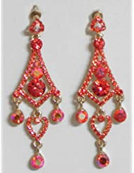 Flaming Red Stone Studded Dangle Earrings - Stone And Metal