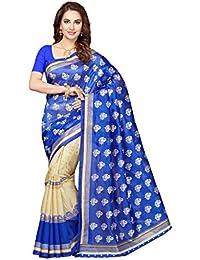 Ishin Bhagalpuri Silk Blue Bollwood Half & Half Printed Women's Saree.