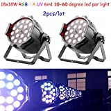 Shipping from US 2pcs/lot 18x18w 6in1 led par light rgbwa uv led par can stage light Zoom 10-60 degree