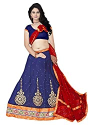 Suchi Fashion Blue & Red Embroidered Semistitched Party Wear Lehenga Choli
