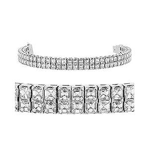 Diamond Bracelet - Double Row Asscher Diamond Tennis Bracelet 18k White Gold