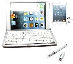 Platinum Quality IPAD Mini Bluetooth Keyboard Case Cover Brushed finish Aluminium Hardback for Apple iPAD mini With 2 X Front Screen Protector and Silver Aluminium Capacitive Stylus Pen - Silver White