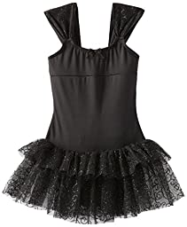 Capezio Little Girls\' Ruched Strap Dress, Black Swirly, Tall