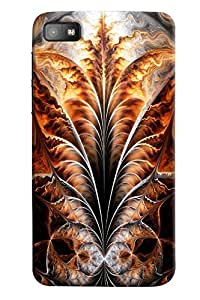 Omnam Leaf With Fire Effect Pattern Printed Designer Back Case For BlackBerry Z10