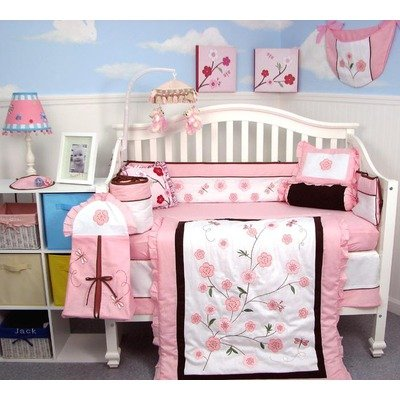 SoHo Dragonflies Garden Baby Crib Nursery Bedding Set 13 pcs included Diaper Bag with Changing Pad & Bottle Case