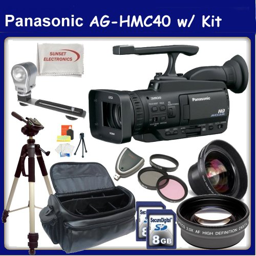 Panasonic Professional AG-HMC40 /HMC45 AVCHD Camcorder with 10.6MP Still and 12x Optical Zoom w/ SSE Premium Movie Makers Kit. Includes: Video Light, Full Size Fluid Head Tripod, 0.45x High Definition Wide Angle Lens, 2X Telephoto HD Lens, 3 Piece Pro Filter Kit, 2x 8GB SDHC Memory Cards, Card Reader, Starters Kit & Professional Carrying Case