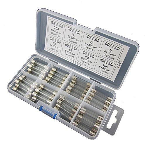 DIGITEN 6x 30mm Veloce Colpo Rapido Vetro Fusibili Assortiti (Confezione da 80)