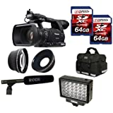 Panasonic AG-AC160APJ AC160A HD Camcorder + Rode NTG2 Microphone + Panasonic Battery + Two 64GB + 0.45X Wide Angle + 2x Telephoto Lens + Case + Tripod + LED