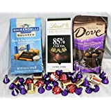 Dark Chocolate Lovers Valentines Day Gift Set Featuring Ghirardelli, Dove, Hersheys and Lindt