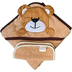 Akeekah Baby Hooded Towel and Washcloth Set Unisex Bear 100% Organic Cotton Super Soft and Absorbent 500GSM