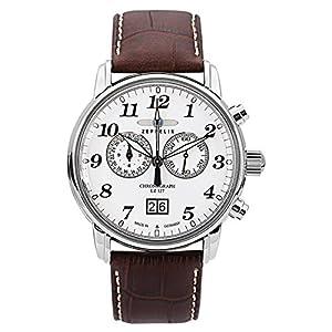 Zeppelin Gents Watch LZ 127 Transatlantic Chronograph Quartz 12-Hour-Stopwatch-Function Large-Date White 7686-1