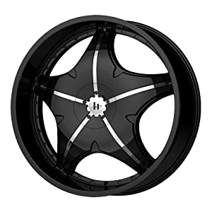"Helo HE846 Gloss Black Wheel with Chrome Accents - (22x8.5""/5x4.5, 4.75"")"