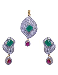 Gehna Emerald Square & Ruby Pear Color Stone Studded Pendant & Earrings Set
