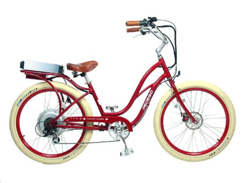 PEDEGO Electric Bicycle Step-Through Beach Cruiser Red/Red