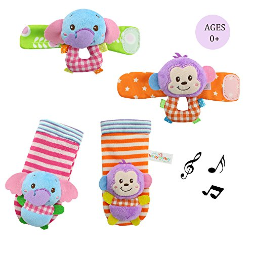 Daisy Baby Infant Wrist and Rattle Socks Hands Foots Finders Soft Education Development Toy - Elephant and Monkey (Rattle Feet compare prices)