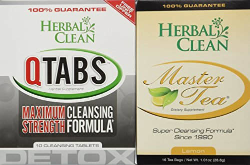 Herbal Clean Bundle - 2 Items Fast Detox (1) Qtabs & (1) Master Tea W/ Creatine Tablets By - For Ultimate Quick Emergency Detoxification + Pre Detox And Post Detox With Master Tea To Get Absolutely Clean Today - Detoxify Safe With Herbal All Natural Ingredients by Herbal Clean (Pill Master compare prices)