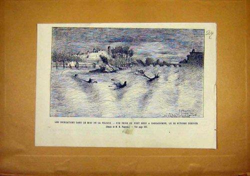 Floods France Carasonne Nine Bridge Pont Neuf 1891