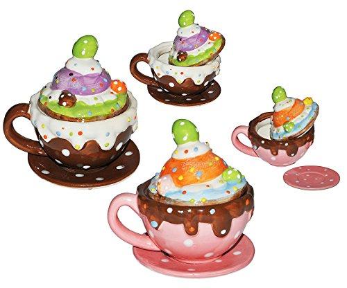 2 Set´s _ Henkeltasse mit Deckel + Untertasse - Törtchen - aus Porzellan / Keramik - Trinktasse mit Henkel Tasse Becher Porzellantasse - Cappuccino Punkte gepunktet