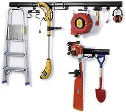 21-teiliges Universal Gartengerätehalterungs-Set mit 11 Haken, 2,40m Schiene, Werkzeughalter mit kinderleichter Klickfunktion, robust und sicher