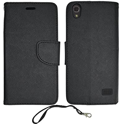 Huawei Vision 3 LTE Wallet Case, Black Premium Wallet Pouch Cover Case Pu Leather Stand + Stylus Pen