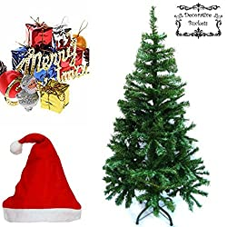 Decorative Buckets 2 FEET CHRISTMAS TREE COMBO WITH 10 ASSORTED CHRISTMAS TREE DECORATION ORNAMENTS WITH 1 FREE SANTA RED CAP. Xmas tree Xmas decorations