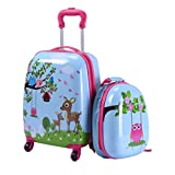 "Goplus® 2Pc 12"" 16"" Kids Luggage Set Suitcase Backpack School Travel Trolley ABS (Deer & Birds)"