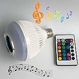 超省エネ多彩音楽ランプ スマートLED電球 スピーカー内蔵 Bluetooth3.0搭載 音楽再生 光色 輝度 コントロール可 E27口金 (ホワイト)