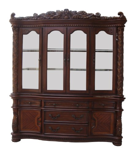 ACME 60006 Vendome Hutch and Buffet China Cabinet, Cherry Finish