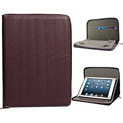 DMG Premium Stitched Durable Portfolio Bag with Accessory Pockets for Huawei Honor X1 (Brown)