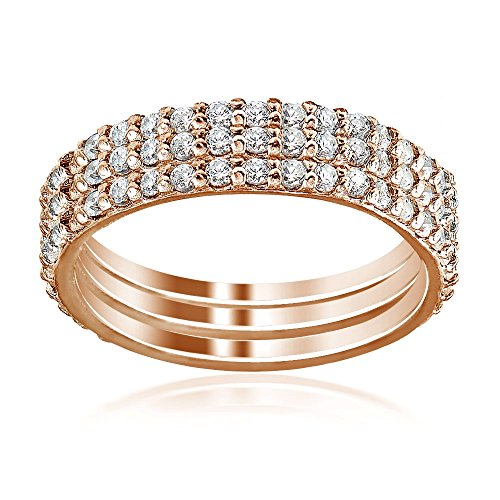Rose Gold Flash Sterling Silver Cubic Zirconia Eternity Stackable Wedding Bands Ring 3pc Set