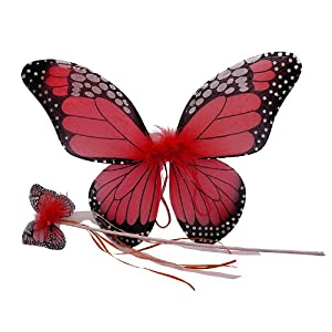 Red Monarch Butterfly Wing & Wand Set