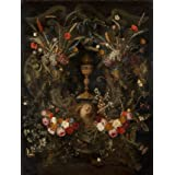 A Garland of Flowers Surrounding a Cartouche Containing an Angel's Head and the Holy Sacrament (V&A Custom Print)