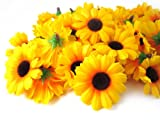 (100) Silk Yellow Sunflower Gerbera Daisy Flower Heads , Gerber Daisies – 1.75″ – Artificial Flowers Heads Fabric Floral Supplies Wholesale Lot for Wedding Flowers Accessories Make Bridal Hair Clips Headbands Dress