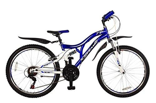 26 Zoll Kinderfahrrad Mountainbike Fahrrad Vollgefedert Jugendfahrrad Kinderrad Rad Shimano 18-Gang X-TREME BLAU