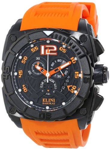 Elini Barokas Men's ELINI-17012-BB-01OSA Commander Chronograph Black Textured Dial Silicone Band Watch