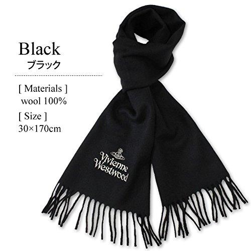 ヴィヴィアンウエストウッド マフラー ブラック ヴィヴィアンマフラー 刺繍シルバー プレゼント