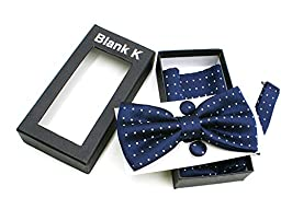 Men\'s Polka Dot Classic Adjustable Pre-Tied Bow Tie Pocket Square Hanky Cufflink Set (Navy Blue)