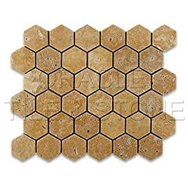Gold / Yellow Travertine Tumbled 2 Hexagon Mosaic Tile