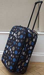 Black With Blue Spirals Desgin Small 41 Lts Travel Luggage Suitcase On Wheels Expanding Trolly Light Weight