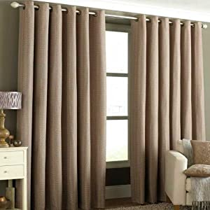 "Antigua Mocha Coffee Basket Weave Heavyweight Lined Ring Top Curtains 66"" X 72"" by PCJ SUPPLIES"