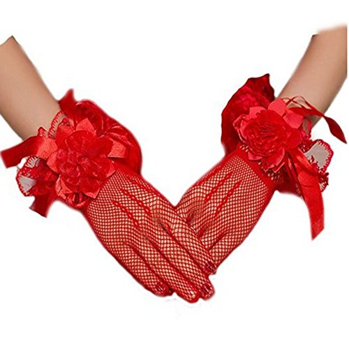 Women Bridal Elastic Lace Bowknot Wrist Gloves for Wedding Evening Party (#Red)