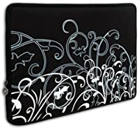 15 inch Notebook Laptop Computer / Apple MacBook Pro 15 Black and White Fleur Carrying Case Sleeve from K-Cliffs