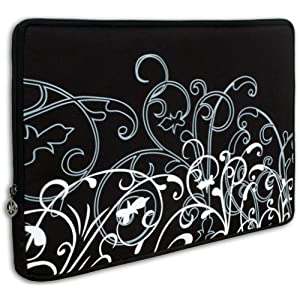 Black and White Fleur Carrying Case Sleeve fit Apple MacBook 13″ and 13 – 14 inch Notebook Laptop Computer