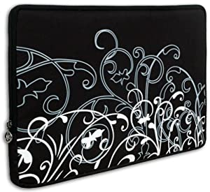 15 inch Notebook Laptop Computer / Apple MacBook Pro 15 Black and White Fleur Carrying Case Sleeve