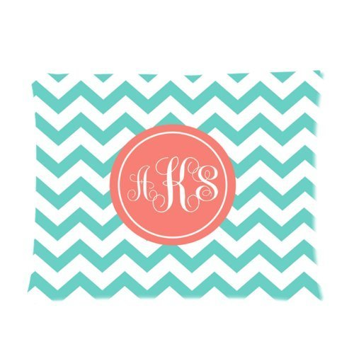 Butuku Personalized Turquoise Chevron Monogram Cursive Initials Pillow Cases Rectangle Pillowcase One Side - Size 20X26 Inch front-842896
