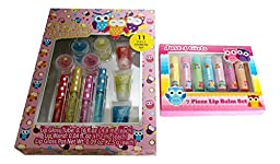 2 Pc Little Girls Owl Themed Lip Gloss and Lip Balm Bundle Includes: 11 Pc Cosmetic Set, 7 Pc Lip Balm Set