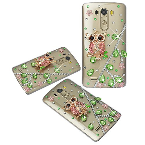 Spritech(TM) Clear Hard Bling Phone Case for LG G Stylo 2 LS775/LG Stylus 2 K520,Handmade Green Crystal Woodpecker Accessary Design Cellphone Cover (Pink Fire Crystals compare prices)